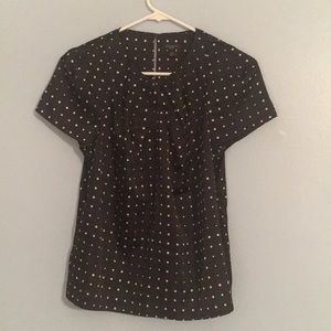 Ann Taylor Navy and Beige Polka Dot Blouse Size 4P